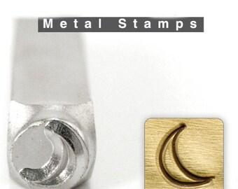 Design Stamp -Crescent Moon  6mm Metal Stamp