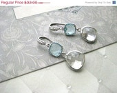 On Sale Tiffany Blue and Crystal Stone with Pave Cubic Zirconia Ear Wire - Something Blue Bride Wedding