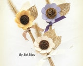 Boutonnieres, Button Holes, Corsages, Groom, Groomsmen, Rustic, Shabby Chic, Ivory, Lilac, Tan, Burlap, Wood, Wheat, Elegant, Simple