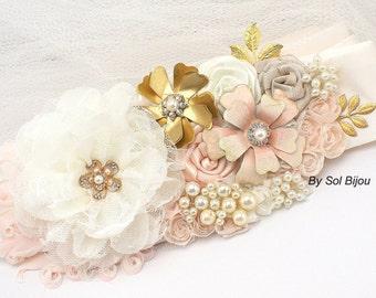 Wedding Sash, Ivory, Blush, Gold, Bridal, Jeweled, Brooch, Feathers, Crystals, Pearls, Satin, Rustic, Vintage Wedding, Elegant Wedding