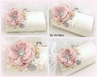 Bridesmaids Clutches, Rose, Blush, Ivory, Champagne, Tan, Purses, Handbags, Elegant Wedding, Vintage Style, Bridal, Pearls, Crystals