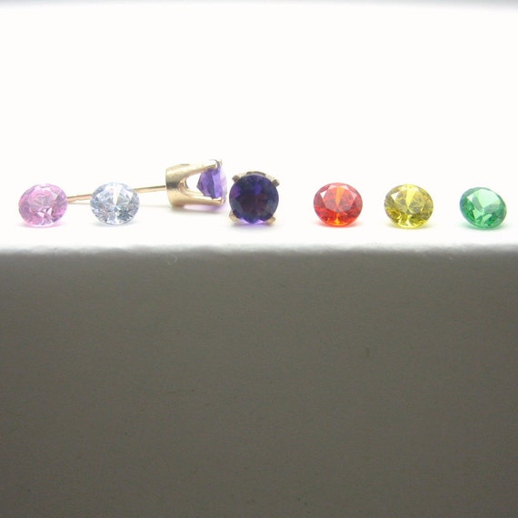 Cubic Zirconia14K Gold Stud Earrings - CZ - Green - Orange - Pink - Purple - Yellow - Gold Earrings - 3 mm - 4 mm - 5 mm - Post Earrings