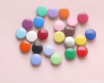 50 sets, Mixed Colors (25 colors) Capped Prong Snap Button, Size 16L (10 mm)