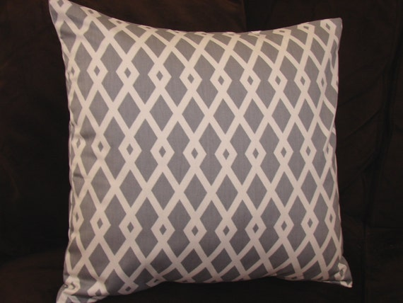 """Decorative Pillow Cover in Gray and White Diamond Lattice Print, 18"""" Pillow Cover, 20"""" Pillow Cover, Modern Grey and White PIllow Cover"""