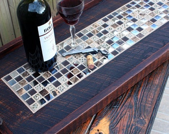 """Ottoman Tray. Rectangular Serving Tray. Mosaic Tile Serving Tray. Reclaimed Wood Tray. """"Reflections"""" Mosaic. 16 x 38. Dark Brown Finish"""