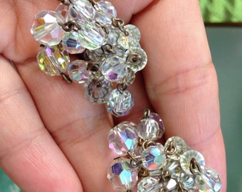 AB clip on vintage dangling earrings