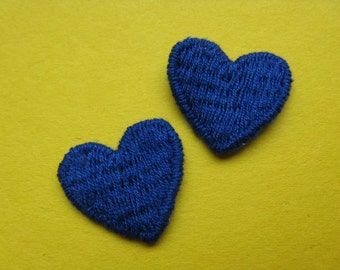 vintage blue heart appliqué 70s love something blue pair of hearts vintage jacket patch new old stock