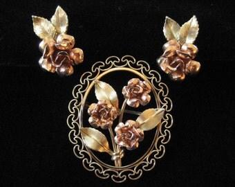 Krementz Rose Pattern Rose and Yellow Gold Overlay Set, Filigree