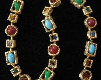 Colorful and Unusual Rhinestone Necklace, Good Quality Piece