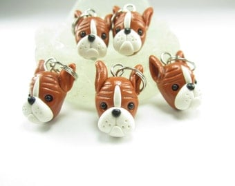 Boxer dog Stitch Markers  5x boxer dog gift knitting accessories knit polymer clay dog charms dog lover gift animal knitters gift boxer dog