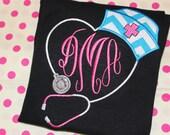 Nurse tshirt with initials- school nurse shirt- can change fabric in hat