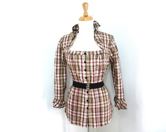 Plaid Cotton blouse Ruffle button down belted 3/4 sleeve Vintage 90s M/L