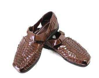 Huarache Sandals Brown Woven Leather Vintage Mens Sandals Size 10M