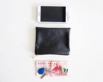 Faux Leather Zipper Pouch - Simple and Classic Zipper Pouch in Faux Sheepskin