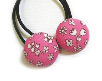 Button Ponytail Holders - Flowers on Pink