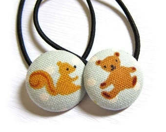 Button Ponytail Holders - Squirrel and Bear