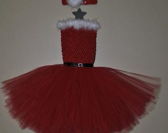 Santa Tutu Dress with Matching Feather Embellished Headband