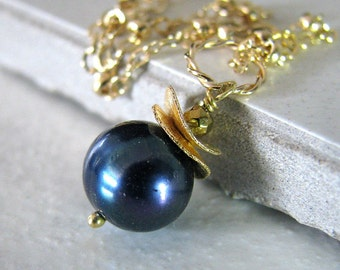 Pearl Necklace, Blue Pearl Necklace, Gold Necklace, Blue Freshwater Pearl, June Birthstone - Blueberry Gold Too