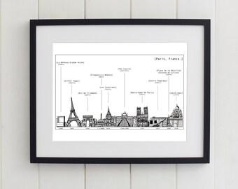 Paris Skyline Heights and Dates Print