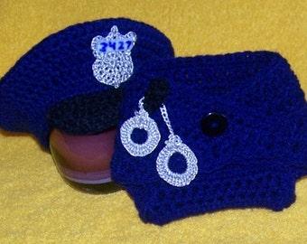 Items similar to Crochet Newborn Policeman Hat Photo Prop ...
