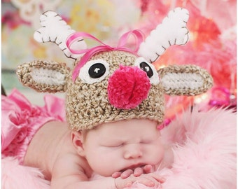 Reindeer Hat - Baby Christmas Hat - Baby Reindeer Hat - Baby Girl Hat - Baby Boy Hat - Baby Crochet Hat - Newborn Christmas Hat - Photo Prop