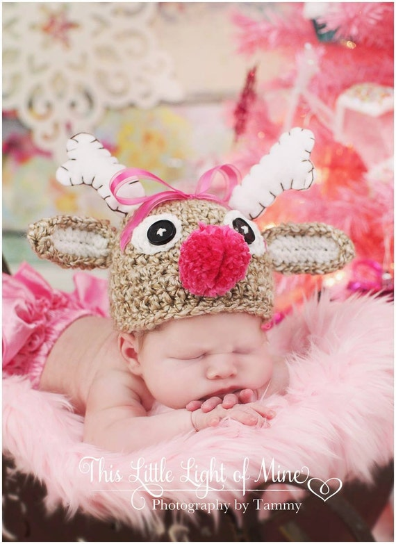 Baby reindeer hat you chose the size and colors and nose color newborn photo prop-Made to order