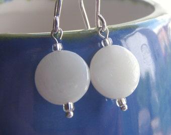 White Shell Bead Earrings