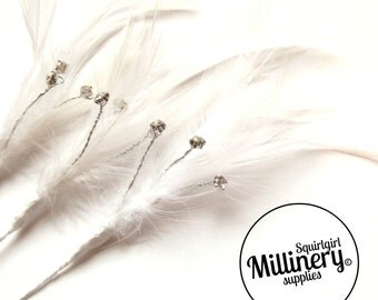 3 White Hackle Feather & Diamante / Rhinestone Wired Spray Mounts for Fascinators, Wedding Bouquets and Hat Trimming