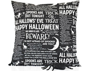 Script Halloween Pillow Cover Cushion Black White Ghost Cat Moon Decorative 18x18