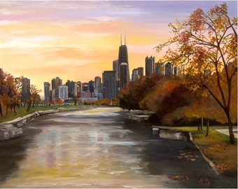 "Chicago Skyline Painting - 15x12"" Giclee Print"