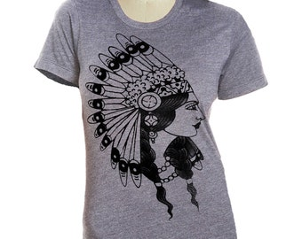 Womens INDIAN PRINCESS t shirt Native American  (sm, med, lg, xl, xxl) skip n whistle