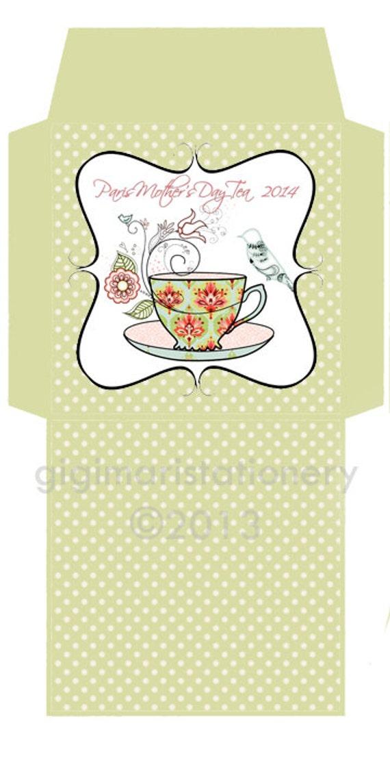 diy printable tea bag cover template bridal shower tea bag