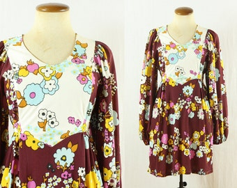 1960s MOD Mini Dress Babydoll Flower Power Hippie Empire Waist Puff Bishop Sleeves Vintage 60s Small S Dolly Scoop Neck Micro White Maroon