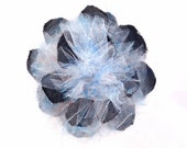 Fun and Funky, Black Jeans with Multi Colored Tulle Flower Hair Accessory Clip