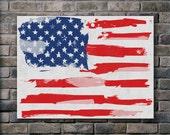 American flag - 18x24 Canvas Print / Watercolor paint