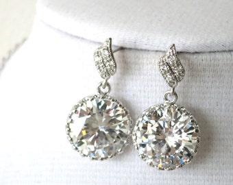 Pamelia - Bridal Earrings, Bridesmaids, Clear Large Cubic Zirconia Crystal, Big Diamond Earrings, Bridesmaid Jewelry