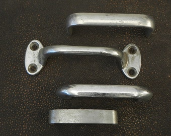 4 vintage retro chrome drawer pulls handles