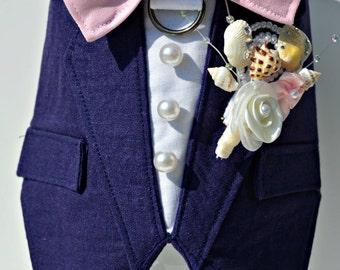 Dog Wedding Tuxedo, Linen Boy Dog Harness
