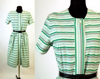 1940s dress day dress cotton dress striped dress green gray shirtwaist dress Size Medium