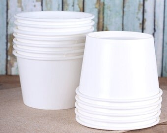 Large White Paper Ice Cream Cups, White Ice Cream Bowls, Sundae Cups, Ice Cream Party Cups, Dessert Cups, 8 oz Ice Cream Party Cups (18)