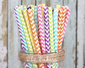 Girls Rainbow Chevron Paper Straws, Rainbow Paper Straws, Rainbow Cakepop Sticks, Party Straws, Drinking Straws, Rainbow Party (30)