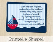 Nautical, Bring a Book Inserts, Baby Shower, Ahoy Its a Boy, Red, Boat, Ocean, Navy, Sailboat, Printed Cards, FREE Shipping, AHNTR, Request