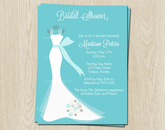 Wedding Dress Bridal Shower Invitations, Wedding Gown Invites, Set of ...