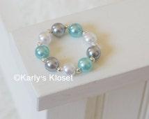 White, Turquoise & Gray Pearl Newborn Bracelet, Newborn Jewelry, Baby Bracelets, Dainty Baby Prop, Newborns Photo Props, Pearl Beads