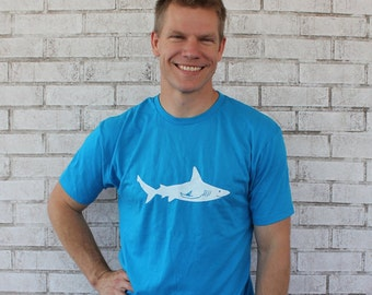 Men's Shark Graphic Tee, Short Sleeved Cotton Crewneck Tshirt, Gift For Man, Hand Printed Shirt Bright Turquoise Blue Marine Animal Aquarium