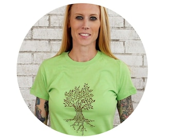 Tree T Shirt, Ladies Cotton Crewneck Tshirt, Apple Green, Soft, Nature, Women, Screenprinted by hand, Short Sleeved, Outdoors, Nature Leaves