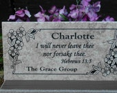 "Garden Memorial plaque. Maintenance Free 12""x6""x3/8"" ""Charlotte"" Design- Price includes shipping..."