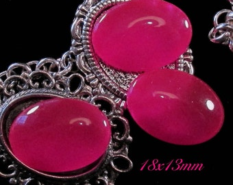 18x13mm Coated Glass Cabochon - Vivid Pink - 3 pcs : sku 04.10.14.3 - A23
