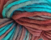 Bulky / Chunky Weight Hand Painted Wool Yarn Pencil Roving in Frost Bite 60 yards