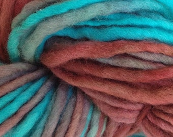 Bulky / Chunky Weight Hand Painted Wool Yarn Pencil Roving in Frost Bite 60 yards Aqua Burgundy